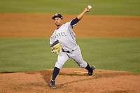 Tampa Yankees pitcher Rigoberto Arrebato #58 during a game against the Dunedin Blue Jays on April 11, 2013 at Florida Auto Exchange Stadium in Dunedin, Florida.  Dunedin defeated Tampa 3-2 in 11 innings.  (Mike Janes/Four Seam Images)