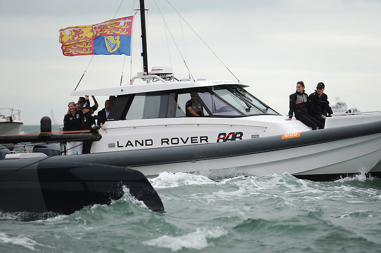 The Duke and Duchess of Cambridge on the Land Rover BAR support boat during day two of the Louis Vuitton America's Cup World Series racing, Portsmouth, United Kingdom. (Photo by Rob Munro/Stewart Communications)