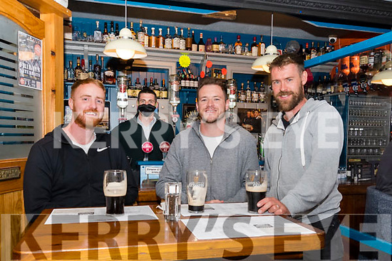 Paul Geaney's reopening in Dingle: James Mackey, Patrick Walsh and John Kiely with Paul Geaney behind the bar.