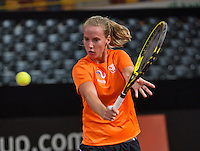 Februari 04, 2015, Apeldoorn, Omnisport, Fed Cup, Netherlands-Slovakia, Training Dutch team, Richel Hogenkamp<br /> Photo: Tennisimages/Henk Koster