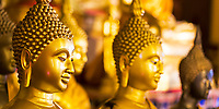 Wat Phra That temple, gold and black Buddha heads, in Doi Suthep mountains near Chiang Mai Thailand, Southeast Asia