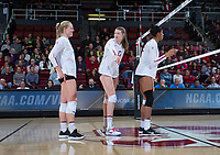 STANFORD, CA - December 1, 2017: Kathryn Plummer, Merete Lutz, Courtney Bowen at Maples Pavilion. The Stanford Cardinal defeated the CSU Bakersfield Roadrunners 3-0 in the first round of the NCAA tournament.