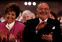 FILE -<br /> Jacques Parizeau elu chef du PQ le 19 mars 1988.<br /> <br /> Sa premiere femme Alice Parizeau est assise a sa droite.<br /> <br /> PHOTO  : Pierre Roussel - Agence Quebec Presse