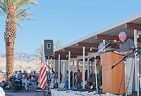 Rich Jones, General Manager of Furnace Creek Resort, addresses the audience at the Grand Re-Opening of the Furnace Creek Visitor Center in Death Valley National Park, California, on November 4, 2012.