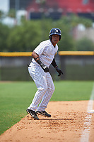 GCL Yankees West third baseman Griffin Garabito (1) leads off third base during the second game of a doubleheader against the GCL Yankees East on July 19, 2017 at the Yankees Minor League Complex in Tampa, Florida.  GCL Yankees West defeated the GCL Yankees East 3-1.  (Mike Janes/Four Seam Images)