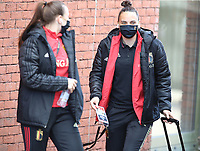 Hannah Eurlings (13) of Belgium and goalkeeper Nicky Evrard (21) of Belgium pictured entering the stadium before   a friendly female soccer game between the national teams of Belgium , called the Red Flames and The Republic of Ireland , on sunday 11 th of April 2021  in Brussels , Belgium . PHOTO: SEVIL OKTEM | SPORTPIX.BE | SPP