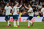 Argentina's Leo Messi (L) and Lautaro Martinez (R) celebrate goal during International Adidas Cup match between Argentina and Venezuela at Wanda Metropolitano Stadium in Madrid, Spain. March 22, 2019. (ALTERPHOTOS/A. Perez Meca)