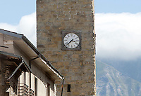 A clock of the Civic Tower,  stopped at the time when an magnitude 6 earthquake struck the village of Amatrice, central Italy, at 3,36 am, 24 August 2016.<br /> L'orologio della Torre Civica, fermo alle 3,36, ora del terremoto che nel mattino ha colpito Amatrice, 24 agosto 2016.<br /> UPDATE IMAGES PRESS/Riccardo De Luca