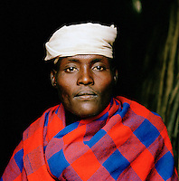 Portrait of Hamer tribesman wearing headgear in Turmi, Lower Omo Valley, Ethiopia