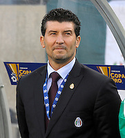 Mexico Head Coach Jose Manuel de la Torre awaits the Mexican National Anthem.  Mexico defeated Costa Rica 4-1 at the 2011 CONCACAF Gold Cup at Soldier Field in Chicago, IL on June 12, 2011.