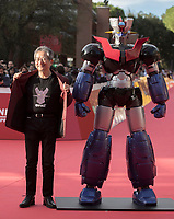 "Il fumettista e scrittore giapponese Go Nagai posa sul red carpet per la presentazione del film ""Mazinga Z Infinity"" alla Festa del Cinema di Roma , 27 0ttobre 2017.<br /> Japanese cartoonist and writer and Go Nagai  poses on the red carpet to present the movie ""Mazinga Z Infinity"" during the international Rome Film Festival at Rome's Auditorium, October 27, 2017.<br /> UPDATE IMAGES PRESS"