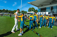 NZ's Kyle Jamieson shakes hands with the Pakistan team after day four of the second International Test Cricket match between the New Zealand Black Caps and Pakistan at Hagley Oval in Christchurch, New Zealand on Wednesday, 6 January 2021. Photo: Dave Lintott / lintottphoto.co.nz