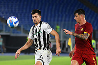 Calcio, Serie A: AS Roma vs Udinese, Olympic stadium, September 23, 2021.<br /> Roma's Roger Ibanez (R) in action with Udinese's Ignacio Pussetto (L) during the Italian Serie A football match between Roma and Udinese at Rome's Olympic stadium, on September 23, 2021.<br /> UPDATE IMAGES PRESS/Isabella  Bonotto