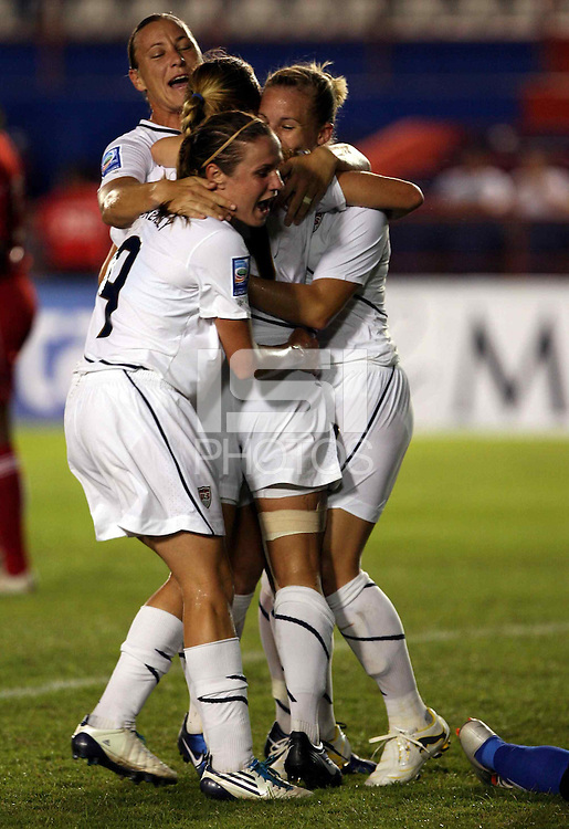 Rachel Buehler of United States celebrates her goal. The US Women's National Team defeated Haiti 5-0 during the CONCACAF Women's World Cup Qualifying tournament at Estadio Quintana Roo in Cancun, Mexico on October 28th, 2010.