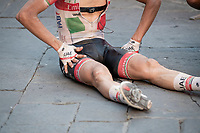 2nd finisher Davide Formolo (ITA/UAE-Emirates) on trhe Campo floor post-finish<br /> <br /> 14th Strade Bianche 2020<br /> Siena > Siena: 184km (ITALY)<br /> <br /> delayed 2020 (summer!) edition because of the Covid19 pandemic > 1st post-Covid19 World Tour race after all races worldwide were cancelled in march 2020 by the UCI