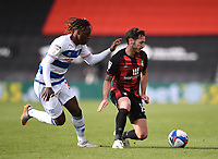 17th October 2020; Vitality Stadium, Bournemouth, Dorset, England; English Football League Championship Football, Bournemouth Athletic versus Queens Park Rangers; Osman Kakay of Queens Park Rangers competes for the ball with Adam Smith of Bournemouth
