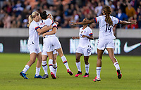 HOUSTON, TX - FEBRUARY 03: Christen Press #20 of the United States celebrates during a game between Costa Rica and USWNT at BBVA Stadium on February 03, 2020 in Houston, Texas.