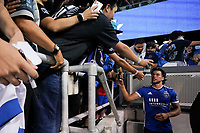 SAN JOSE, CA - JULY 24: Cade Cowell #44 of the San Jose Earthquakes takes a selfie with a fan after a game between Houston Dynamo and San Jose Earthquakes at PayPal Park on July 24, 2021 in San Jose, California.