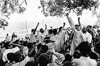 India, Narmada River, Narmada dams and protest movement of NBA Narmada Bachao Andolan, movement to save the Narmada river, and affected Adivasi in their villages, tribal village Domkhedi, rally in September 2000