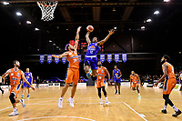 Kerwin Roach of the Wellington Saints dunks the ball during the round two NBL match between the Wellington Saints and the Southland Sharks at TSB Bank Arena, Wellington, New Zealand on Friday 7 May 2021.<br /> Photo by Masanori Udagawa. <br /> www.photowellington.photoshelter.com