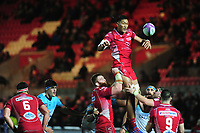 Sam Lousi of Scarlets claims the lineout during the European Rugby Challenge Cup Round 4 match between the Scarlets and Bayonne at the Parc Y Scarlets in Llanelli, Wales, UK. Saturday 14 December 2019