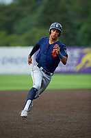 Connecticut Tigers Avery Tuck (20) running the bases during a NY-Penn League game against the Auburn Doubledays on July 12, 2019 at Falcon Park in Auburn, New York.  Auburn defeated Connecticut 7-5.  (Mike Janes/Four Seam Images)