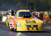 Aug. 17, 2013; Brainerd, MN, USA: NHRA funny car driver Bob Bode during qualifying for the Lucas Oil Nationals at Brainerd International Raceway. Mandatory Credit: Mark J. Rebilas-