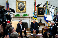 United States President Donald J. Trump and Polish President†Andrzej Duda during a bilateral meeting in the Oval Office of the White House in Washington, DC on June 24, 2020. From left to right: President Duda, President Trump, US Vice President Mike Pence..<br /> Credit: Erin Schaff / Pool via CNP/AdMedia