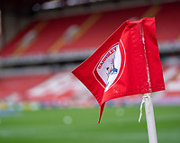 2nd April 2021, Oakwell Stadium, Barnsley, Yorkshire, England; English Football League Championship Football, Barnsley FC versus Reading; Barnsley flag blowing in the Yorkshire wind ahead of kick off
