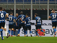 Calcio, Serie A: Inter Milano - Juventus FC , Giuseppe Meazza (San Siro) stadium, in Milan, January 17, 2021.<br /> Inter's Arturo Vidal (second left) ) celebrates after scoring with his teammates during the Italian Serie A football match between Inter and Juventus at Giuseppe Meazza (San Siro) stadium, January 17,  2021.<br /> UPDATE IMAGES PRESS/Isabella Bonotto