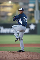 AZL Padres 2 relief pitcher Michell Miliano (26) delivers a pitch during an Arizona League game against the AZL Angels at Tempe Diablo Stadium on July 18, 2018 in Tempe, Arizona. The AZL Padres 2 defeated the AZL Angels 8-1. (Zachary Lucy/Four Seam Images)