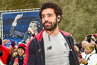Mohamed Salah of Liverpool (11) arriving before the Premier League match between Brighton and Hove Albion and Liverpool at the American Express Community Stadium, Brighton and Hove, England on 12 January 2019. Photo by Edward Thomas / PRiME Media Images.