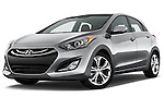 Low aggressive front three quarter view of a .2013 Hyundai Elantra GT Hatchback