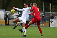 Lee Newton of Romford and Allen George of Aveley during Romford vs Aveley, Pitching In Ishmian League North Division Football at Mayesbrook Park on 26th September 2020