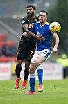 St Johnstone v Motherwell…08.08.21  McDiarmid Park<br />Callum Booth is held by Kaiyne Woolery<br />Picture by Graeme Hart.<br />Copyright Perthshire Picture Agency<br />Tel: 01738 623350  Mobile: 07990 594431