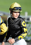 09 September 19: Emma-Jayne Wilson looks back to check the replay on the video board after narrowly finishing second aboard Fionn in the 9th race at Woodbine Racetrack in Rexdale, Ontario.