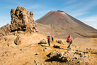 Views of Mount Ngaruhoe with hikers on Tongariro Alpine Crossing Track, Tongariro National Park, Central Plateau, North Island, UNESCO World Heritage Area, New Zealand, NZ