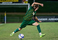 COLLEGE PARK, MD - SEPTEMBER 3: George Mason University forward Miles Montgomery (28) controls the ball during a game between George Mason University and University of Maryland at Ludwig Field on September 3, 2021 in College Park, Maryland.