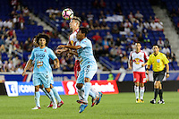 Harrison, NJ - Thursday Sept. 15, 2016: Alex Muyl, Danny Torres Angel during a CONCACAF Champions League match between the New York Red Bulls and Alianza FC at Red Bull Arena.