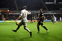 Barclays Premier League, Swansea City (White) V Norwich City (black) Liberty Stadium, Swansea, 08/12/12<br /> Pictured: Ben Davies crosses the ball into the box as Swansea throw everything forward to try and save the game.<br /> Picture by: Ben Wyeth / Athena <br /> Athena Picture Agency<br /> info@athena-pictures.com