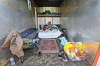 Pictured: A young couple from Hereford rest in their van. Monday 31 August 2020<br /> Re: Around 70 South Wales Police officers executed a dispersal order at the site of an illegal rave party, where they confiscated sound gear used by the organisers in woods near the village of Banwen, in south Wales, UK.