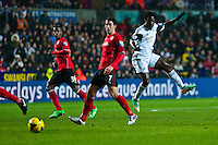 Saturday 2nd Febuaray 2014<br /> Pictured: Wilfried Bony of Swansea City  takes a shot at goal<br /> Re: Barclays Premier League Swansea City FC  v Cardiff City FC at the Liberty Stadium, Swansea