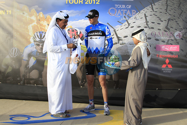Garmin-Cervelo rider Ramunas Navardauskas (LTU) takes over the young rider jersey at the end of the 2nd Stage of the 2012 Tour of Qatar an 11.3km team time trial at Lusail Circuit, Doha, Qatar. 6th February 2012.<br /> (Photo Eoin Clarke/Newsfile)