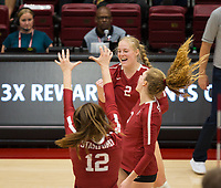 STANFORD, CA - NOVEMBER 17: Stanford, CA - November 17, 2019: Kathryn Plummer, Holly Campbell, Audriana Fitzmorris at Maples Pavilion. #4 Stanford Cardinal defeated UCLA in straight sets in a match honoring neurodiversity. during a game between UCLA and Stanford Volleyball W at Maples Pavilion on November 17, 2019 in Stanford, California.