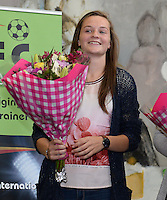 20150529 – OOSTENDE , BELGIUM : Lierse's Elke Van Gorp pictured during  the 1st edition of the Sparkle  award ceremony , Friday 29 May 2015, in Oostende . The Sparkle  is an award for the best female soccer player during the season 2014-2015 comparable to the Golden Shoe / Gouden Schoen / Soulier D'or for Men . PHOTO DAVID CATRY