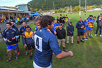 Ryan Shelford leads the Paraparaumu team out for the Horowhenua Kapiti Ramsbotham Cup premier club rugby match between Paraparaumu and Rahui at Paraparaumu Domain in Paraparaumu, New Zealand on Saturday, 5 June 2021. Photo: Dave Lintott / lintottphoto.co.nz