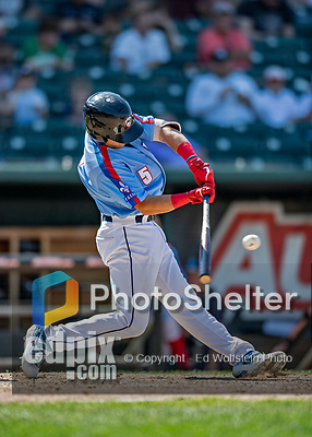 23 June 2019: New Hampshire Fisher Cats infielder Logan Warmoth in action against the Trenton Thunder at Northeast Delta Dental Stadium in Manchester, NH. The Thunder defeated the Fisher Cats 5-2 in Eastern League play. Mandatory Credit: Ed Wolfstein Photo *** RAW (NEF) Image File Available ***