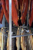 """Europe/Grande-Bretagne/Ecosse/Highland/Env de Grantown on Spey : """"The Smoke House"""" - Fumerie de saumon, les étiquettes mentionnent le nom du pêcheur"""