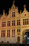 Civil Registry at Night, Renaissance Facade 1543, Burg Square, Bruges, Brugge, Belgium