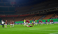 Calcio, Serie A: Inter Milano - AC Milan , Giuseppe Meazza (San Siro) stadium, in Milan, October 17, 2020.<br /> Milan's players celebrate after winning 2-1 the Italian Serie A football match between Inter and Milan at Giuseppe Meazza (San Siro) stadium, October 17,  2020.<br /> UPDATE IMAGES PRESS/Isabella Bonotto